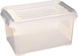 CURVER | Boîte de rangement Handy box Plus 6L + clips Gris avec couvercle, Transparent, 29,4 x 19,4 x 15 cm, Plastique