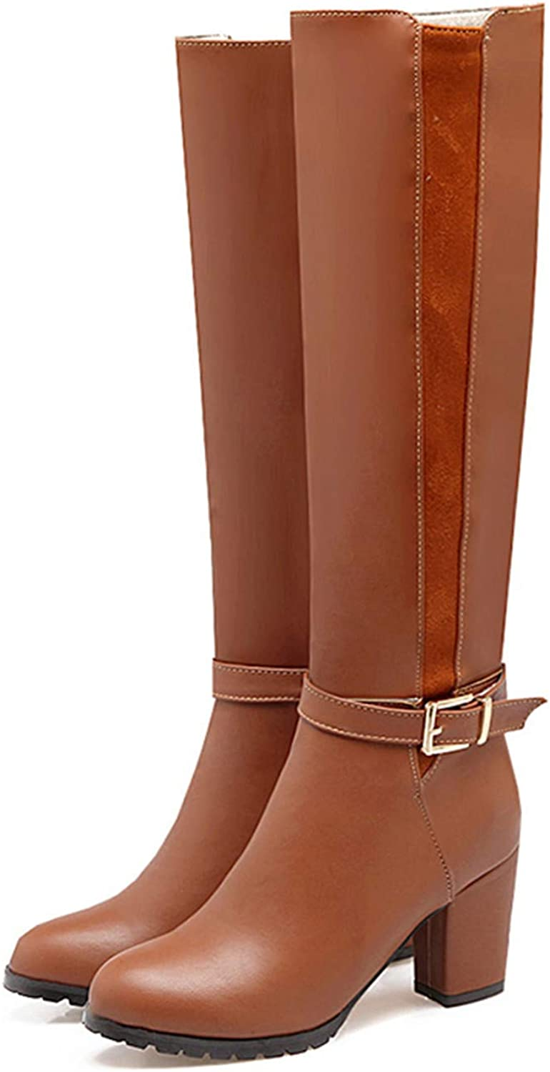 Leroyca Women Knee High Boots Knight Thick High Heels shoes Woman Buckle Strap Zipper Winter Boots Female