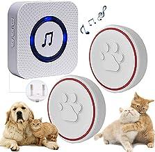 ChunHee Draadloze deurbel voor honden en huisdieren, deurbel met sensor, aanraking, ontvanger, stopcontact, 55 beltonen en...