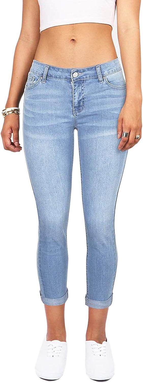 Imily Bela Womens Mid Waist Denim Pants Cuffed Slim Fit Stretchy bluee Carpi Jeans