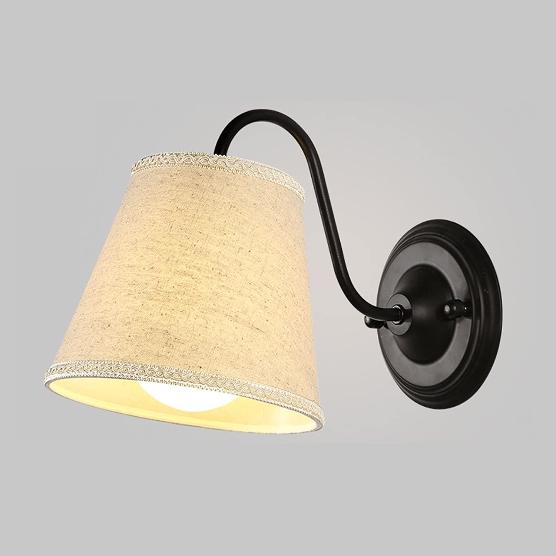 Amerikanische Simple Art Single Scheinwerfer American Warm Tuch Wohnzimmer Esszimmer Bedside Lampe Single Head E27 Schwarz