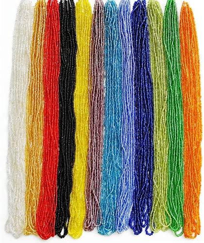 11 0 Glass Seed Beads 1 Hank 3 Meters 12 String Hanks Total 12 Colors Glass Silver Lined Seed product image