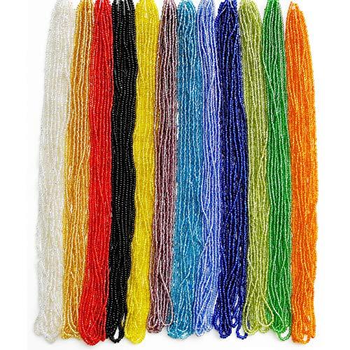 11/0 Glass Seed Beads 1 Hank 3 Meters (12 String Hanks,Total 12 Colors)...