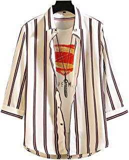 Tomnana メンズ シャツ 7分袖 薄手 カジュアルシャツ ストライプ柄 大きいサイズ トップス 春 夏 秋 オシャレ A:ホワイト L