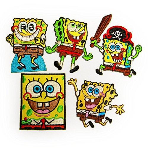 spongebob 5Pセット SET スポンジボブ キャラクター ワッペン イエロー