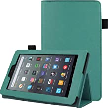 """TECHGEAR Case Designed For All New Amazon Fire 7"""" (9th Generation / 2019 Release) PU Leather Slim Folio Stand Case Cover with Hand Strap [Sage] with Auto Wake/Sleep"""