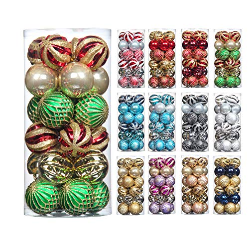 QinYing Red&Gold&Green 24pcs 2.36 Christmas Balls Ornaments Shatterproof Coloured Drawing Tree Hanging Balls Decoration for Hoilday Party Baubles Set with Hang Rope