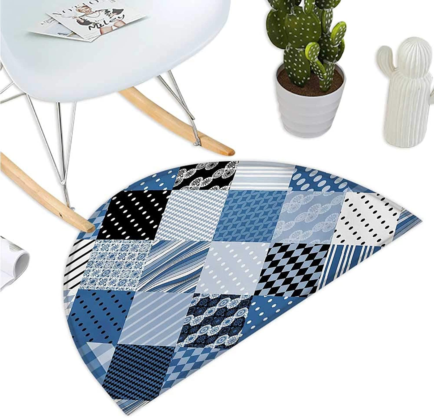 Geometric Semicircular Cushion Geometrical Diamond Shaped Lines with Various Nostalgic Fashioned Old Pattern Halfmoon doormats H 43.3  xD 64.9  bluee Black