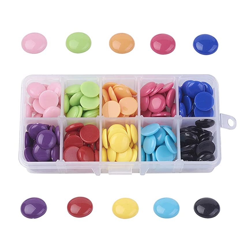PH PandaHall 1 Box About 200pcs 10 Colors Solid Colour Acrylic Cabochons Flatback Half Round/Dome Cabochon Gem Scrapbook Craft