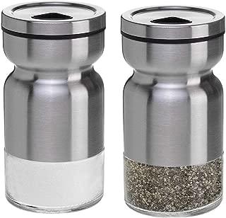 Pepper Shaker,Salt and Pepper Shakers Set Practical Stainless Steel Dredge Salt Superior Seasoning Cans Elegant Salt Pepper Dispenser Adjustable Pour Holes Stainless Steel(Set Of 2 )