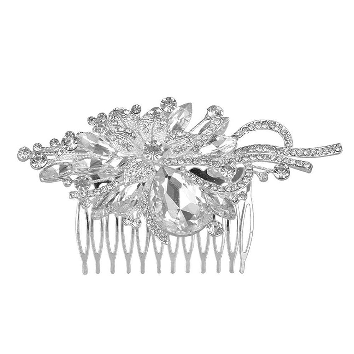 レビュアー不安定な真剣に髪の櫛挿入櫛花嫁の髪櫛クラウン髪の櫛結婚式のアクセサリー葉の髪の櫛ラインストーンの髪の櫛ブライダルヘッドドレス