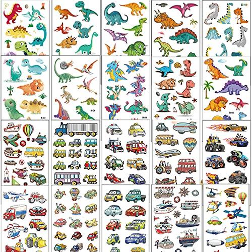 Tattoo Kinder, 20 Blätter Temporäre Tattoos Set mit Dinosaurier und Fahrzeuge, Klebetattoos Kinder für Jungen und Mädchen als Kindergeburtstag Party oder Geschenkidee