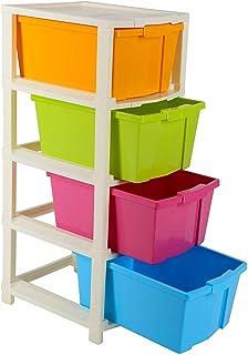 Yug Fashion 4 XL Plastic Modular Drawer System, Multi Colour(31cmx39cmx80.9 cm, Multicolour)
