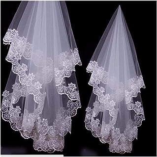 RLYBDL Popular Bridal Accessories Appliques Edge Lace Wedding Veils (Color : Ivory, Item Length : 150cm)