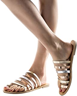 ca329577c5597 Women s Classic Gladiator Slipper Strap Slip On Flat Slide Sandal Ladies  Spring Summer Beach Strappy Flats