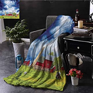 SSKJTC Country Beach Throw Blanket Warehouse Barn Scenery Dorm Bed Baby Cot Traveling Picnic W60 xL80