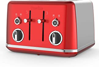 Breville Lustra 4-Slice Toaster with High Lift, Wide Slots and Independent 2-Slice Controls, Candy Red [VTT852]
