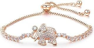 NEVI Designer Elephant Animal Zirconia Rose Gold Plated Charm Bracelet for Women & Girls