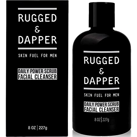 RUGGED & DAPPER Daily Power Scrub Face Wash + Exfoliating Facial Cleanser for Men   Organic & Non-Toxic Skincare - 8 Oz
