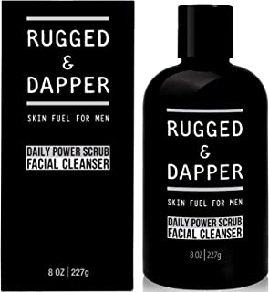 RUGGED & DAPPER All-In-One Daily Power Scrub Facial Cleanser, Energizing Toner & Exfoliation - Natural and Certified Organ...