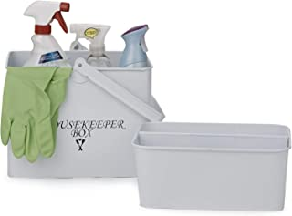 Mind Reader HOUSEK-WHT Metal Housekeeper Supply Basket, Cleaning Carry Caddy, Rectangular Storage Tidy Up Organizing Box, White, One Size