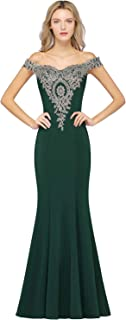 Off-Shoulder Gold Appliques Mermaid Long Evening Formal Prom Dresses for Women