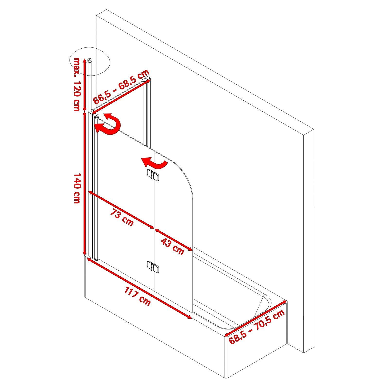 Schulte D81101 01 100 32 5 Garant - Mampara de ducha con pared ...