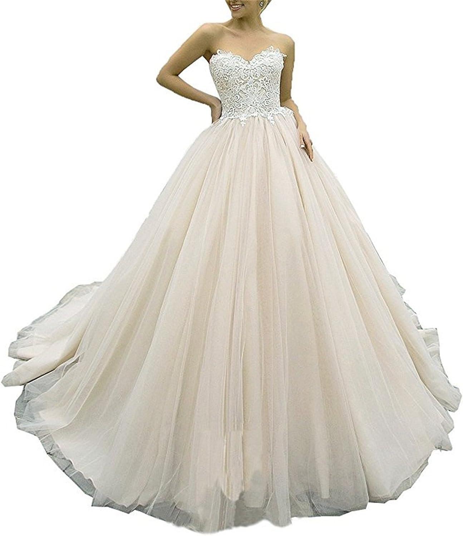 XYHDTQ Women's Sweetheart Lace Applique Court Train Wedding Dresses ALine Bridal Gowns