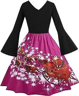 E-Scenery Christmas Dresses Women's V-Neck Santa Claus Print Trumpet Long-Sleeved Pagoda Hight Waist Dress