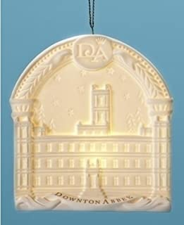Roman 4.25 LED Downton Abbey Highclere Castle Porcelain Christmas Ornament