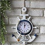 Clock Mare Tema Orologio da Parete Stile Mediterraneo Blu E Bianco Nave Volante Ancora Decorazione da Parete Decorazione Appesa,C