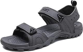 SHENLIJUAN Strong Antislip Summer Sandal for Men Casual Beach Water Shoe Microfiber Leather Hook&Loop Strap Outdoor Sport
