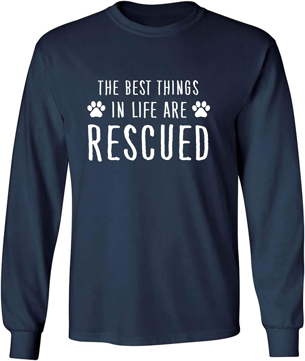 Best Things in Life are Rescued Adult Long Sleeve T-Shirt in Navy - XXX-Large
