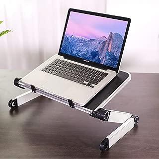RAINBEAN Adjustable Laptop Stand Table for Bed,Portable Lap Desk Stand Compatible Notebook Tablets MacBook,Foldable Lift Bracket Aluminum Ergonomics Design,Office or Home Desk-Black