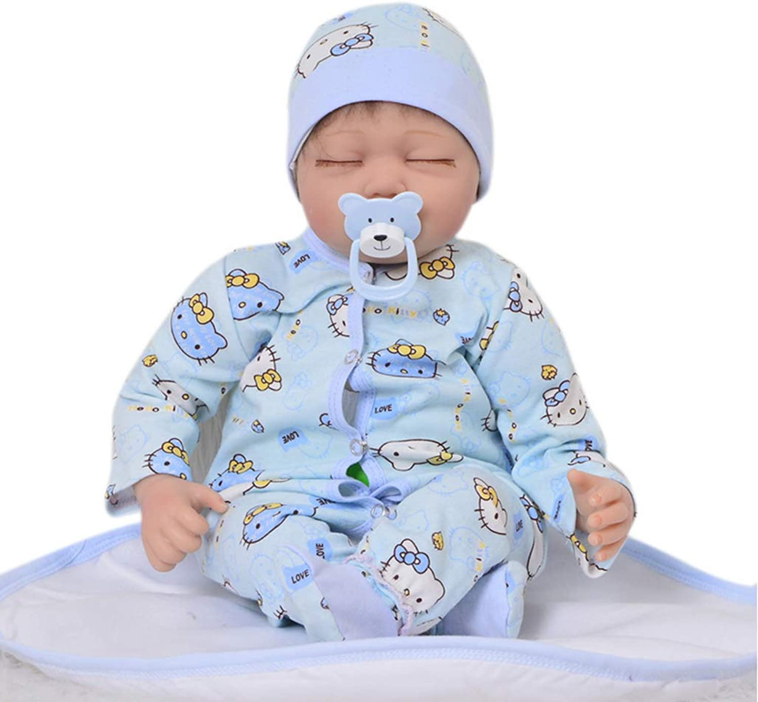 UBTY Simulation Eyes Closed Cute Boy 22inch 55cm Reborn Baby Doll Soft Vinyl Silicone Magnetic Mouth Look Real Kids Toys