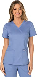 Workwear Revolution Mock Wrap Scrub Top, S, Ciel Blue