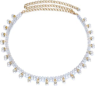 Trimming Shop 102cm (40 Inch) Gold Chain Waist Belt for Women Stylish Clasp with Artificial Clear Rhinestones Baby Pink Diamante with Hanging Beads-Fashionable Accessory for Casual & Formal Wear