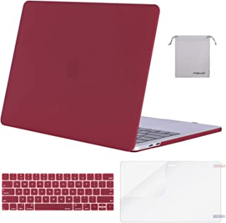 MOSISO MacBook Pro 13 inch Case 2019 2018 2017 2016 Release A2159 A1989 A1706 A1708, Plastic Hard Shell &Keyboard Cover &Screen Protector &Storage Bag Compatible with MacBook Pro 13, Wine Red