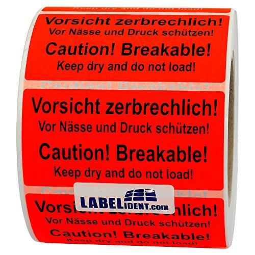 Labelident Warnetiketten auf Rolle 100 x 50 mm - Vorsicht zerbrechlich! Caution! Breakable! - 1000 Versandaufkleber auf 1 Rolle(n), 3 Zoll Kern, Papier selbstklebend, leuchtrot