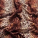 Stoff Polyester Plüsch Leopard Fellimitat Fell Safari