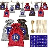 24 unidades de calendario de Adviento para rellenar bolsas de tela, bolsa de regalo de Navidad con números, pinzas de madera, cuerdas de yute y cáñamo, bolsas para manualidades, hombres y niños