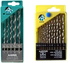 AASONS Drill Bit Set of 13 for Wood, Malleable Iron, Aluminium, Plastic and Masonry with Set of 5 Pieces for Concrete and Brick Wall Drilling