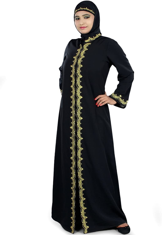 MyBatua Women's Muslim Dress Ocassion & Party Wear Abaya in Black