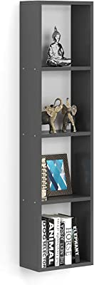 Furnifry Wall Mount Display Case Wooden 4 Tier Rectangular Unit Rack Storage Organizer for Home Decor (11 x 5.3 x 44.5 inches, Grey)