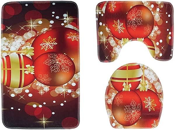 Pausseo Christmas Decorations Simple Merry Christmas Santas Print Toilet Bathroom Mat Three Piece Floor Mat Carpet Set