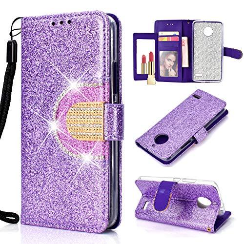 Awenroy Glitzer Hülle für Motorola Moto E4 Luxus Premium Strass Bling Handy Tasche Flip PU Leder Brieftasche Handyhülle mit Kreditkarten Kartenfach Standfunktion und Spiegel - Lila