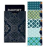 I3C Étui Carte de Crédit Passeport Blocage RFID Portefeuille Pochette (5 Cartes de Crédit & 1 Passeport), Style 1
