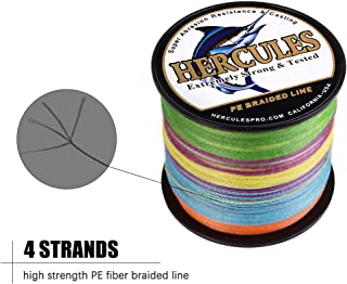 HERCULES Cost-Effective Super Strong 4 Strands Braided Fishing Line 6LB to 100LB Test for Salt-Water, 109/328 / 547/1094 Yards (100M / 300M / 500M / 1000M), Diam# 0.08MM - 0.55MM, Hi-Grade