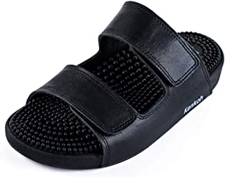 Japanese Massage/Reflexology Sandal by Kenkoh - Men's Yamato Genuine Leather Slip on Shoe - For Acupressure Therapy
