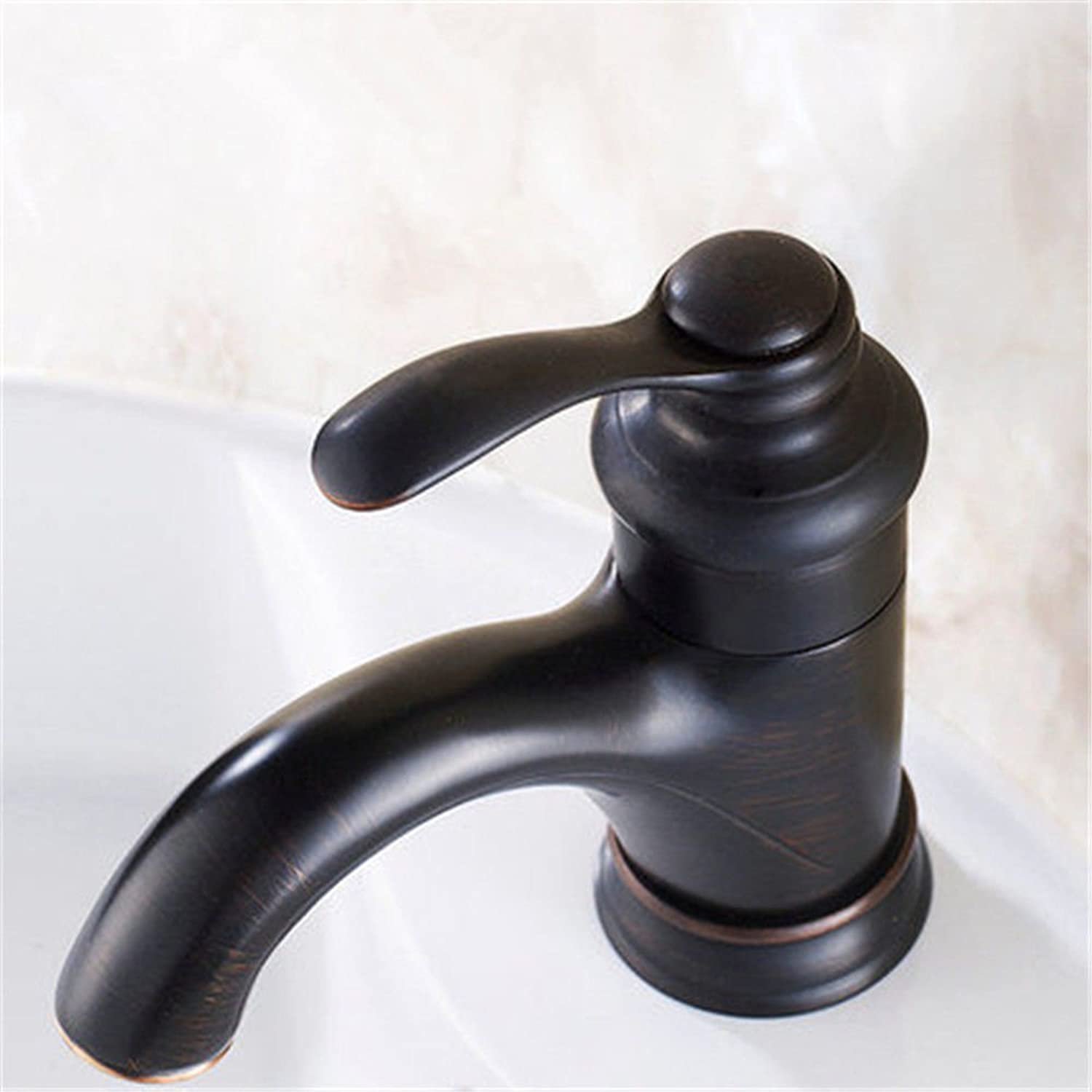 AQMMi Basin Sink Mixer Tap for Lavatory Brass Antique Black Oil Rubbed Bronze Brushed Hot and Cold Water Bathroom Vanity Sink Faucet